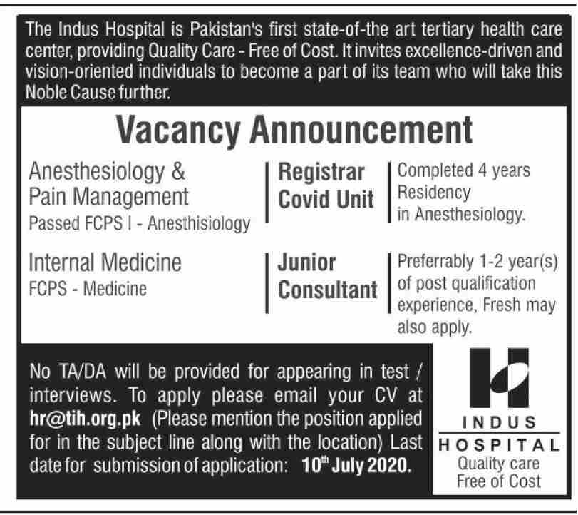 The Indus Hospital Jobs June 2020