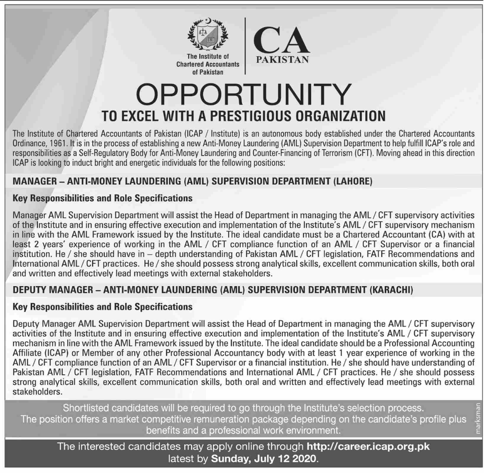 The Institute of Chartered Accountants of Pakistan Jobs June 2020