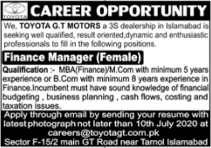 Toyota GT Motors Jobs June 2020