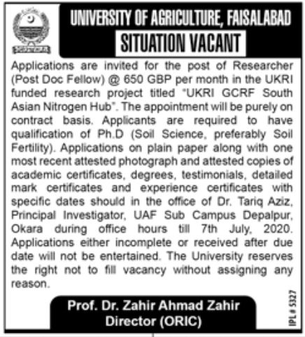 University of Agriculture Faisalabad Jobs June 2020