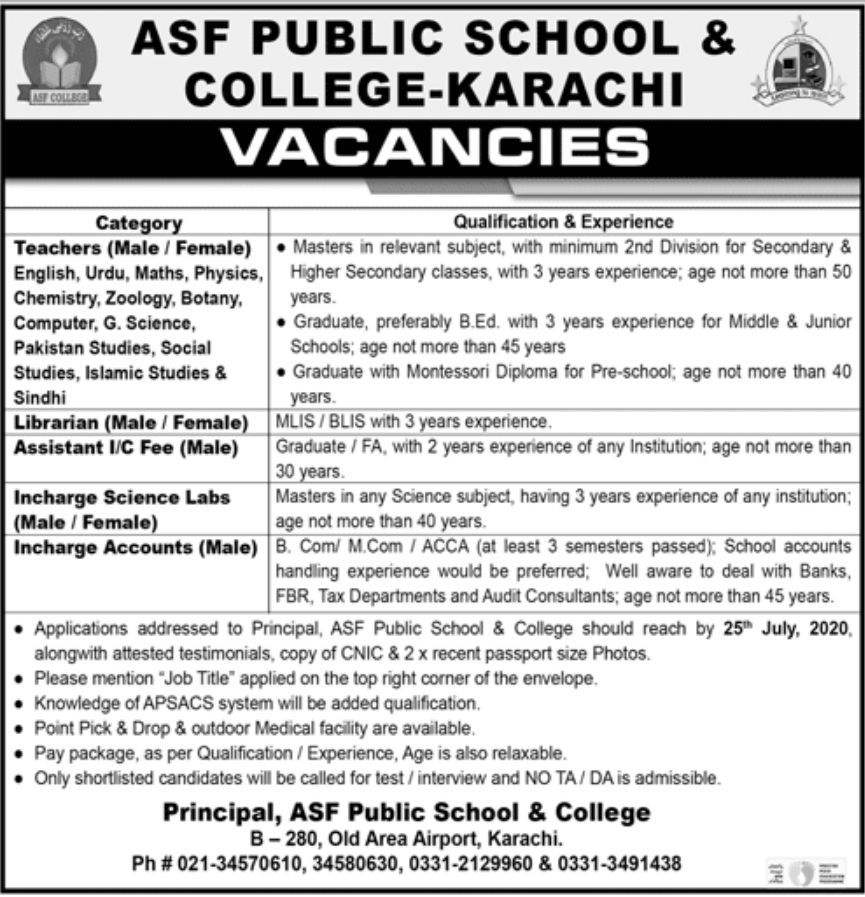 ASF Public School & College Jobs June 2020