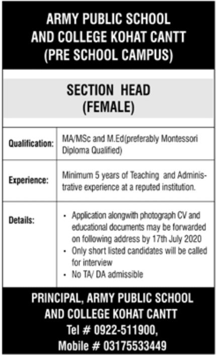 Army Public School and College Jobs July 2020