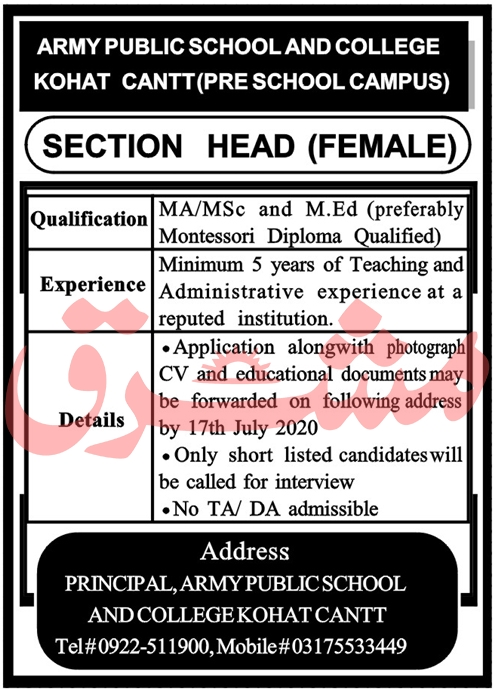 Army Public School and College Kohat Jobs July 2020