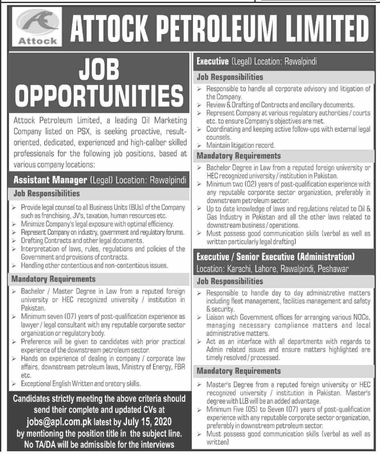 Attock Petroleum Limited Jobs July 2020