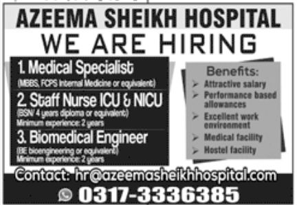Azeem Sheikh Hospital Jobs June 2020