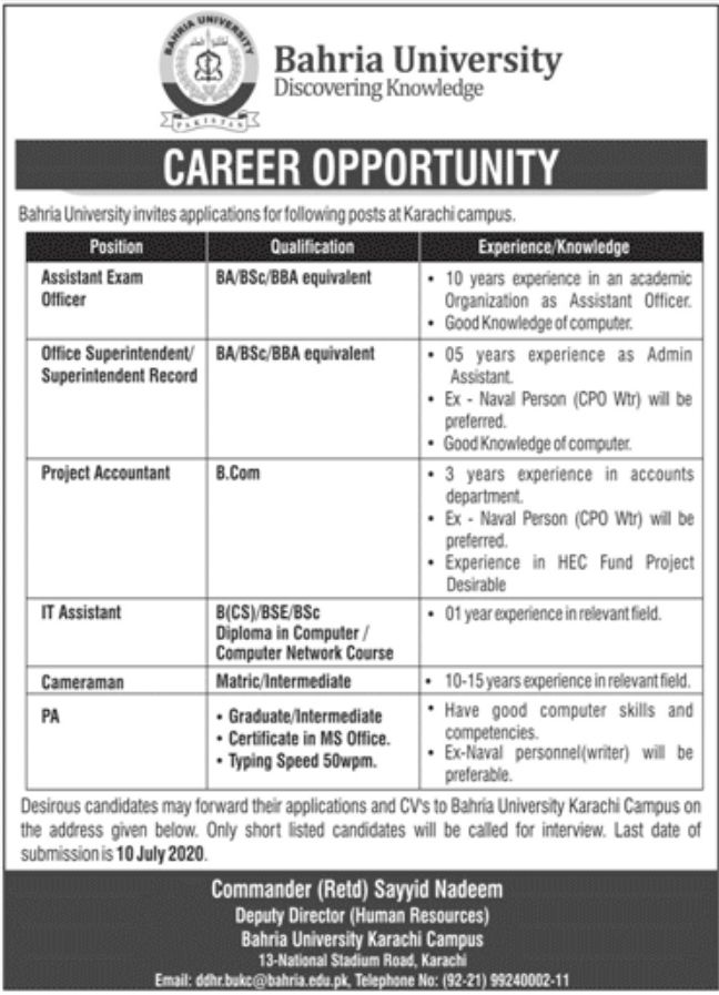 Bahria University Jobs June 2020