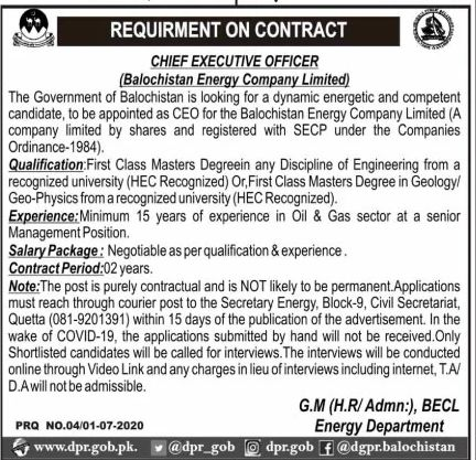 Balochistan Energy Company Limited Jobs June 2020