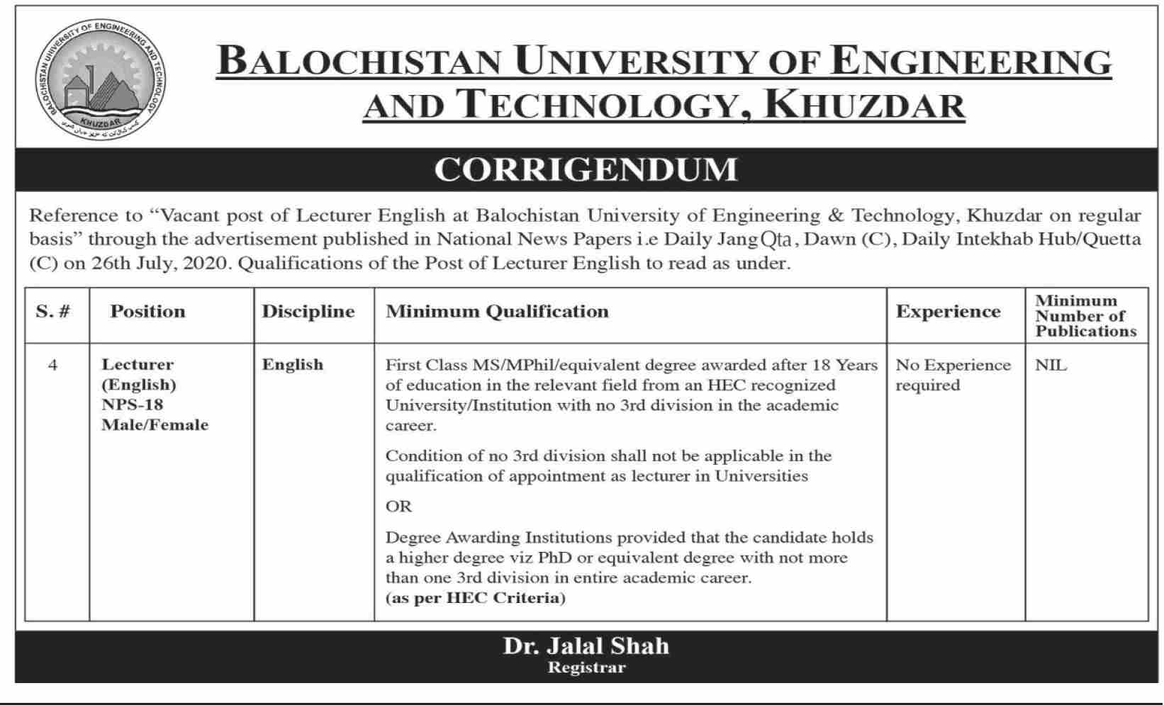 Balochistan University of Engineering and Technology Khuzdar Jobs July 2020