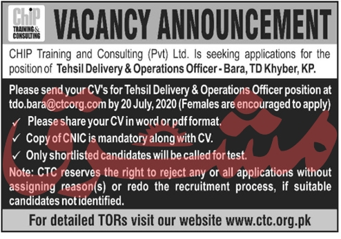 CHIP Training and Consulting Pvt Ltd Jobs June 2020