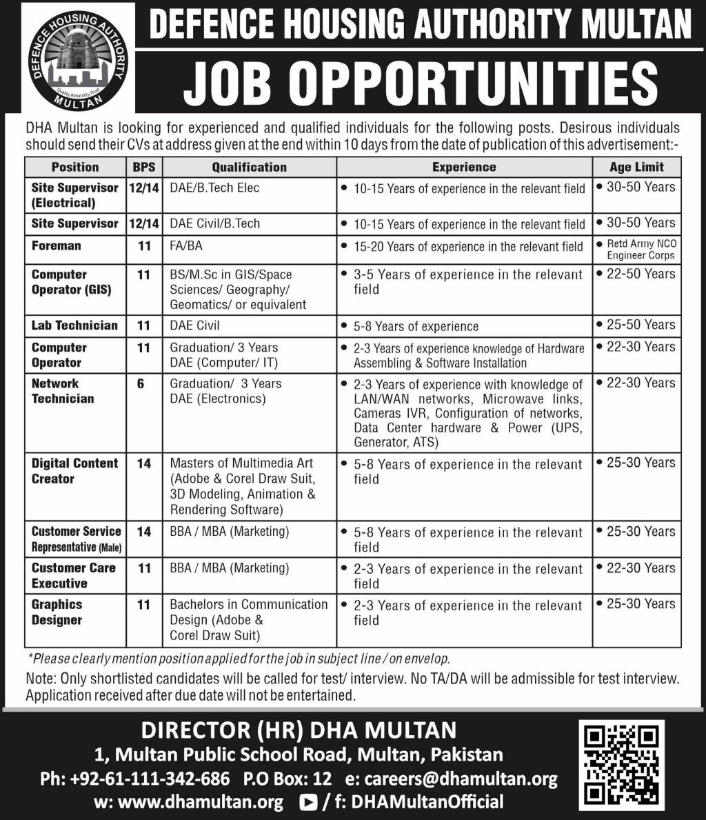Defence Housing Authority DHA Multan Jobs July 2020