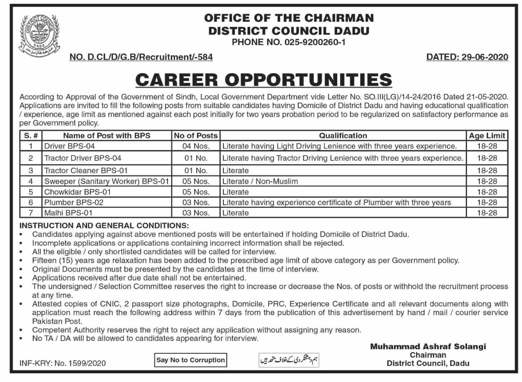 District Council Dadu Jobs June 2020
