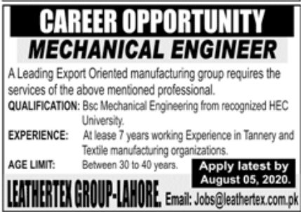 Export Oriented Manufacturing Group Jobs July 2020