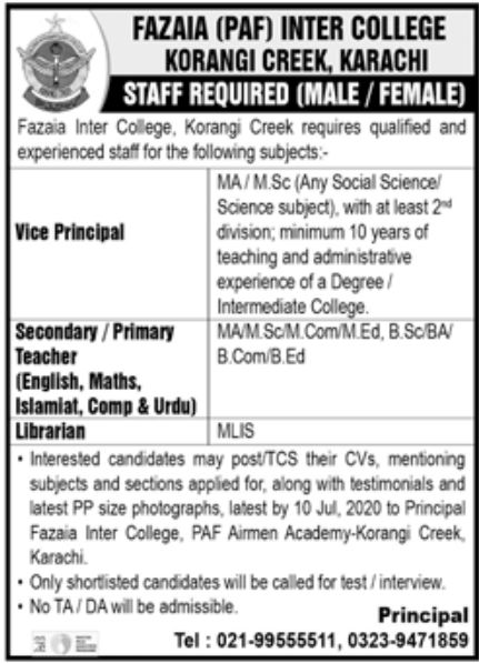 Fazaia PAF Inter College Jobs July 2020