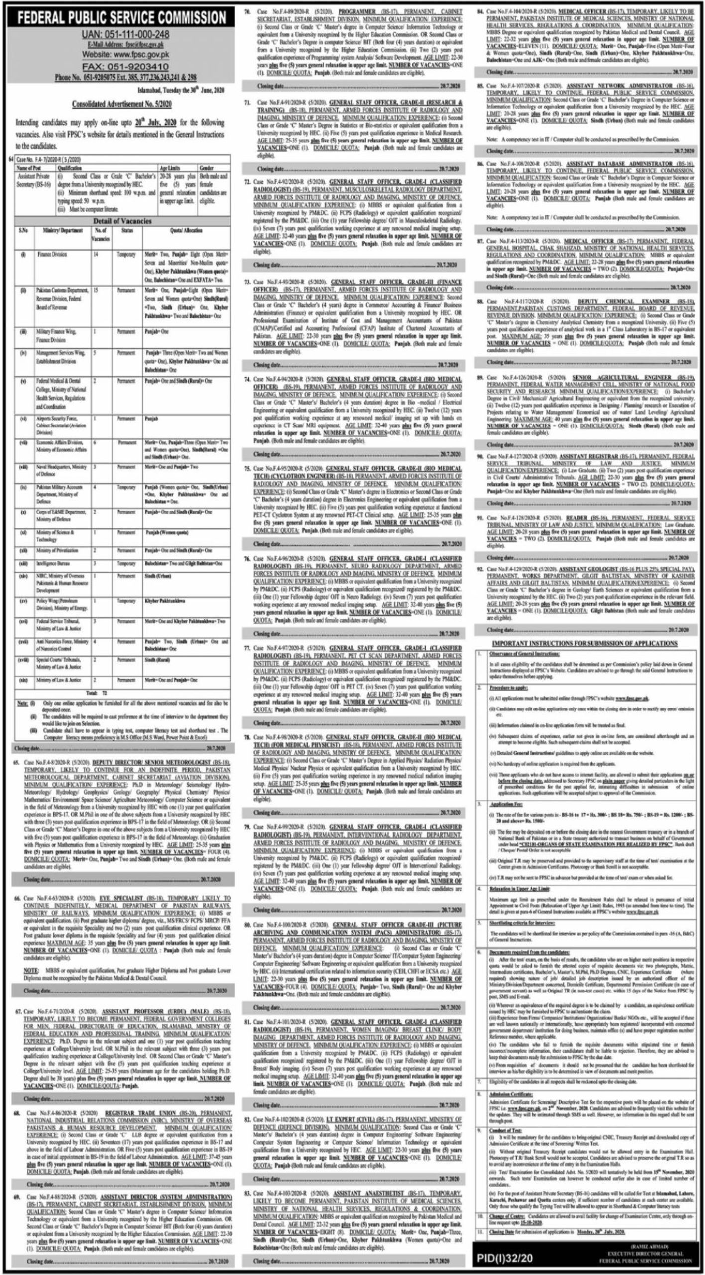 Federal Public Service Commission Jobs July 2020