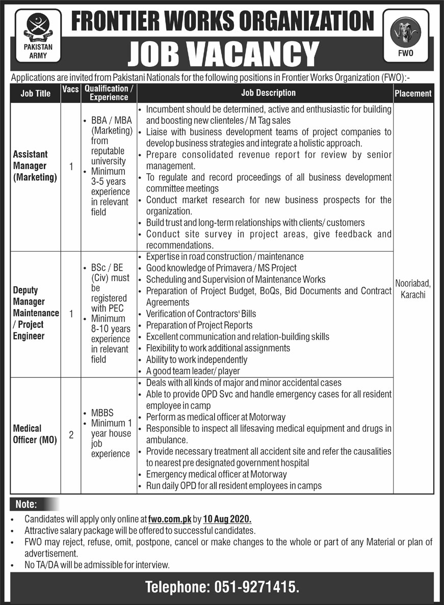 Frontier Works Organization Jobs July 2020