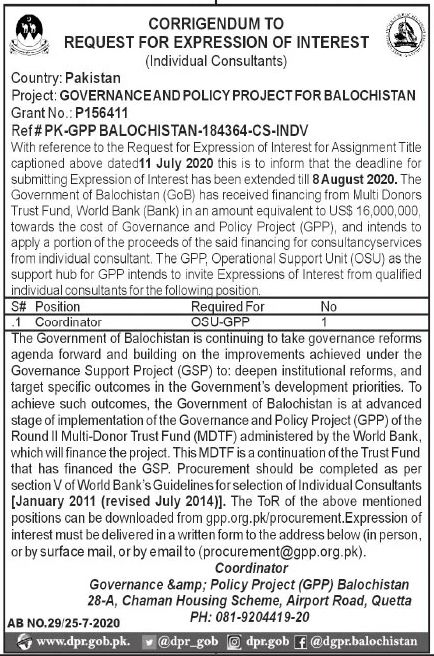 Governance and Policy Project Jobs July 2020