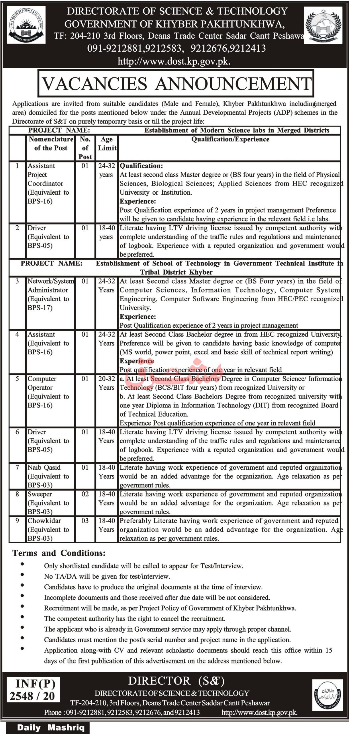 Government of Khyber Pakhtunkhwa Directorate of Science & Technology Jobs June 2020