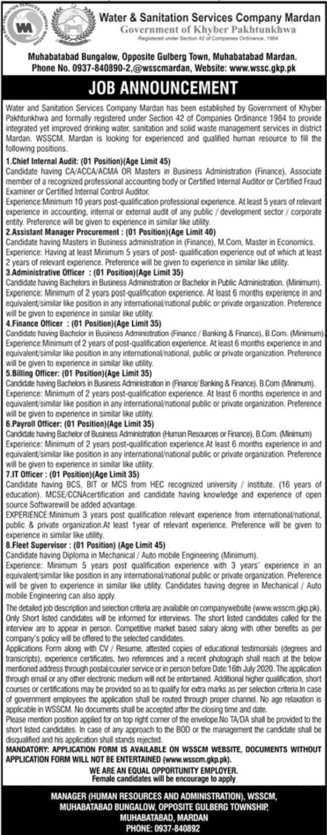 Government of Khyber Pakhtunkhwa Water & Sanitation Services Company Jobs June 2020