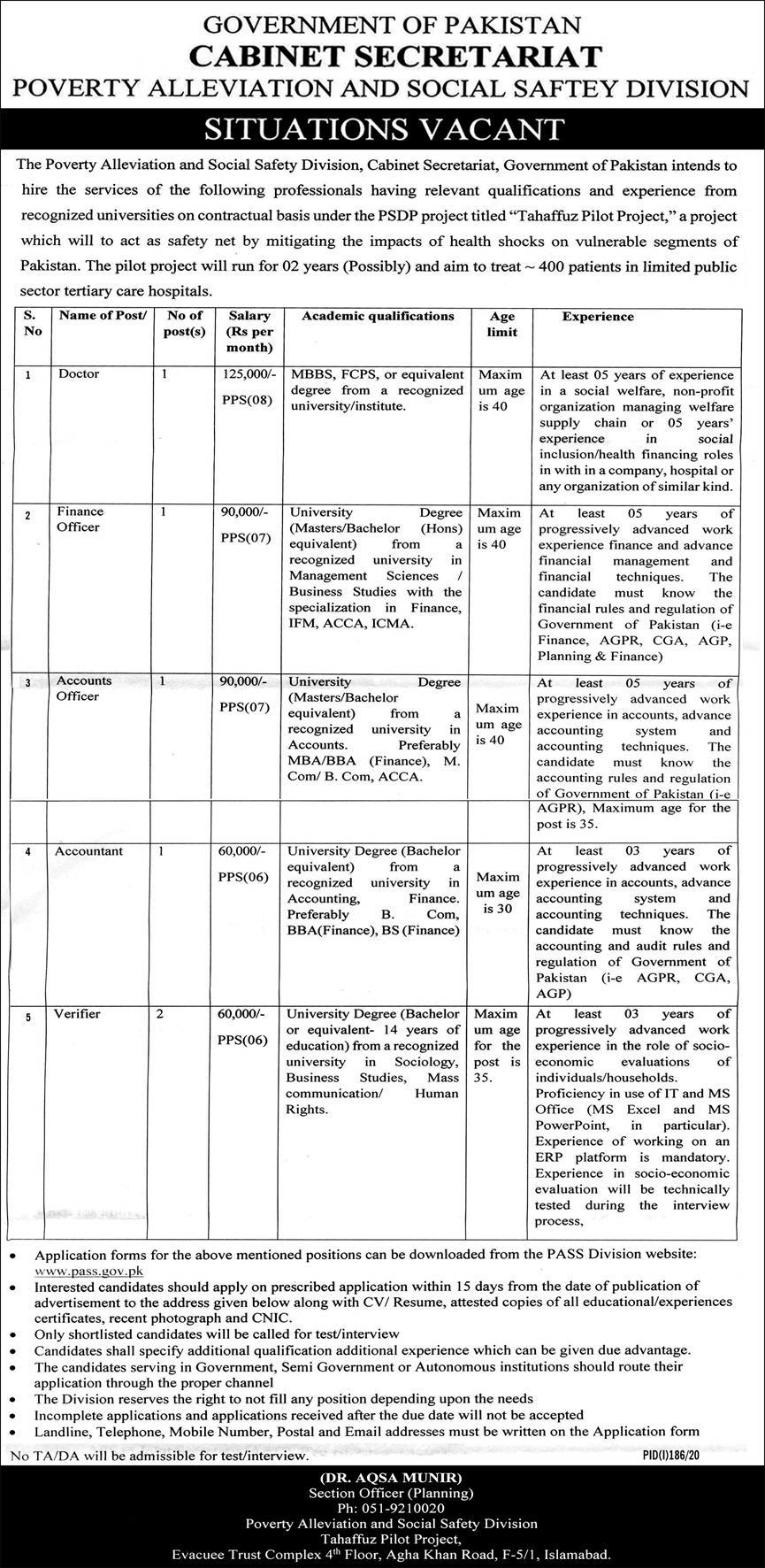 Government of Pakistan Cabinet Secretariat Jobs June 2020