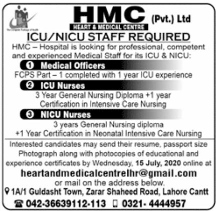 HMC Pvt Ltd Jobs June 2020