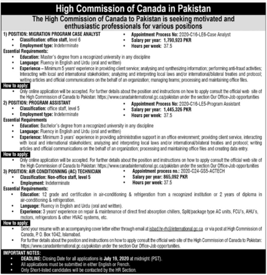 High Commission of Canada in Pakistan Jobs July 2020