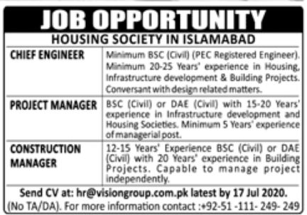 Housing Society Islamabad Jobs June 2020