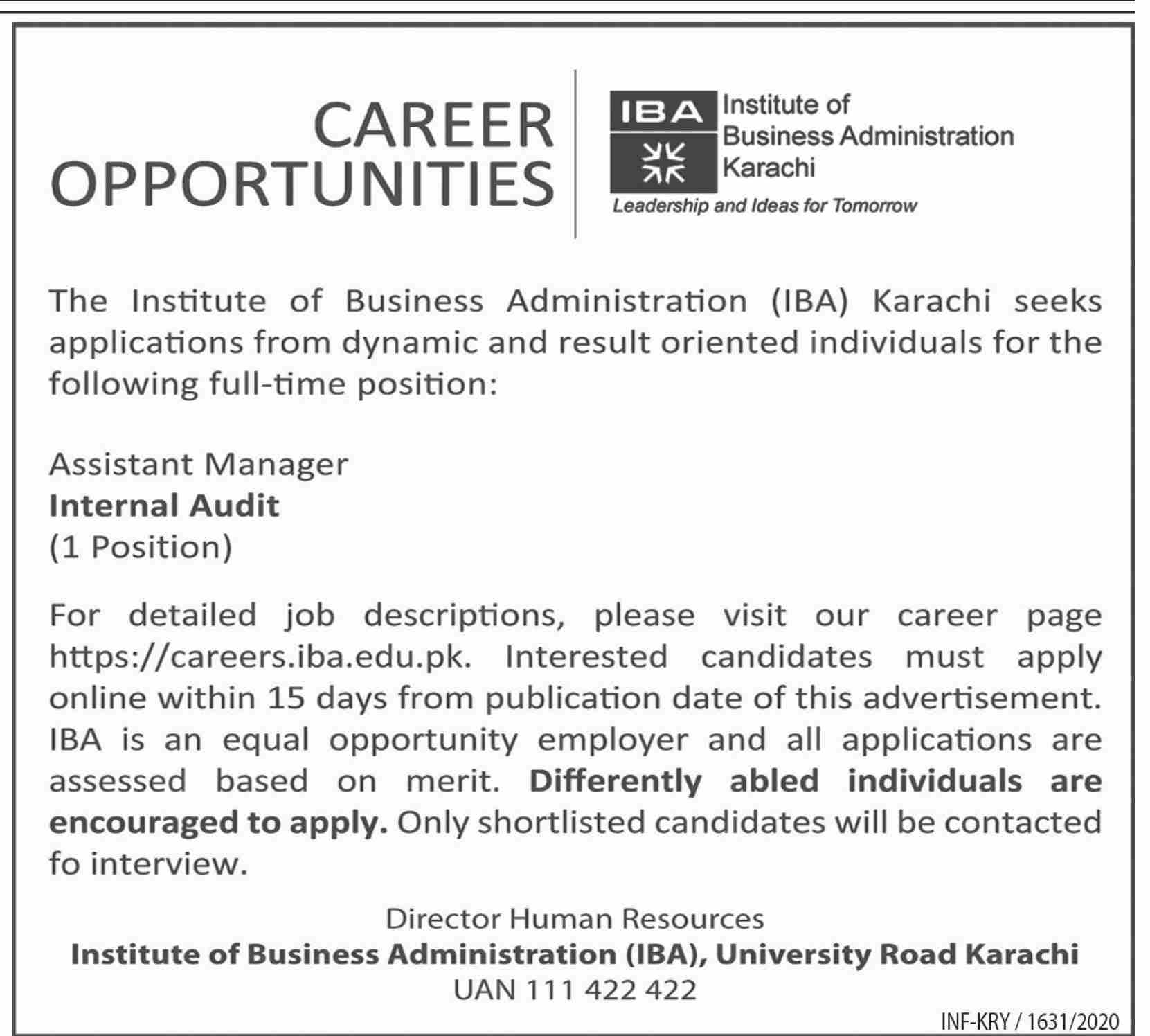 Institute of Business Administration IBA Jobs July 2020