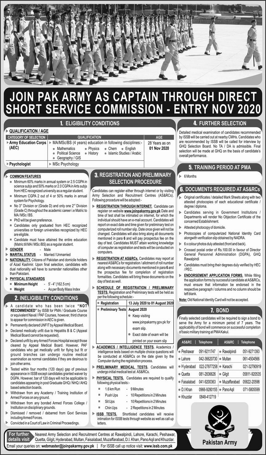 Join Pak Army Jobs June 2020