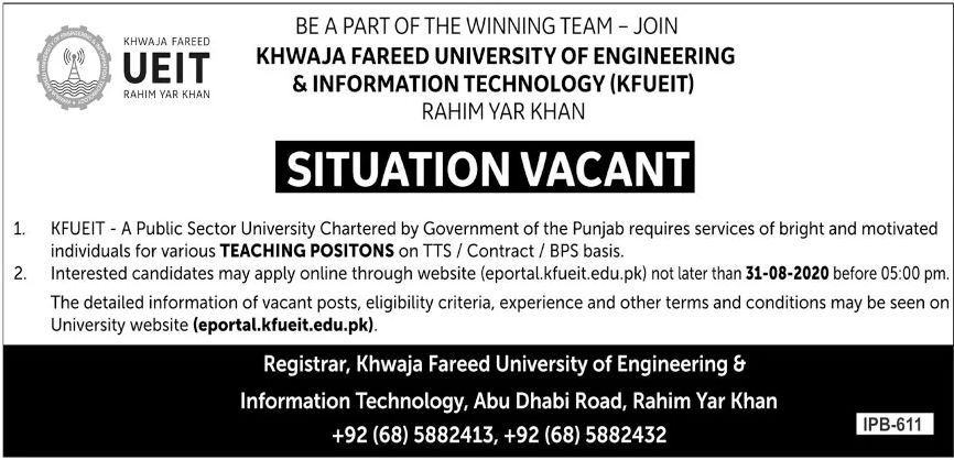 Khwaja Fareed University of Engineering & Information Technology KFUEIT Jobs June 2020