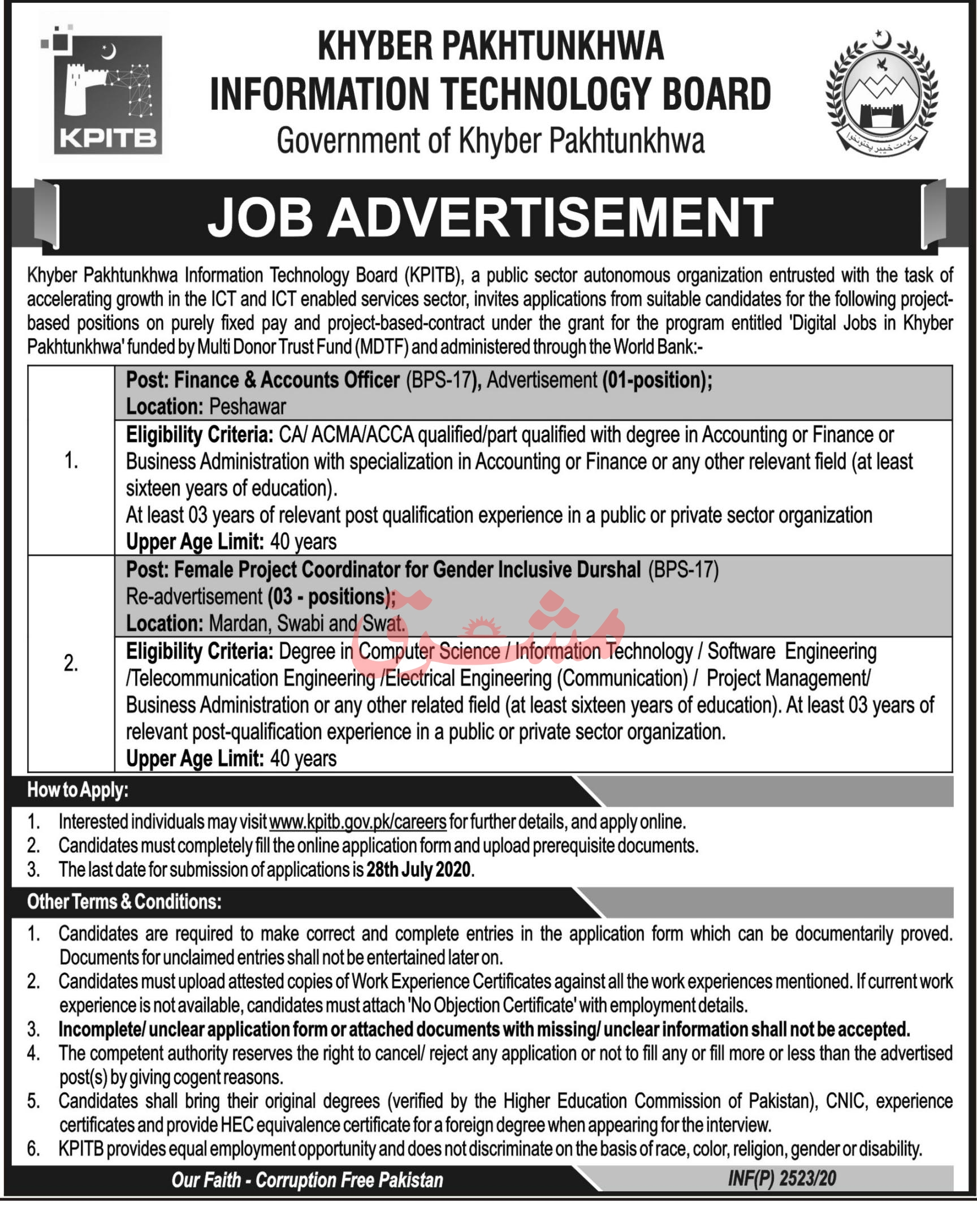 Khyber Pakhtunkhwa Information Technology Board KPITB Jobs June 2020