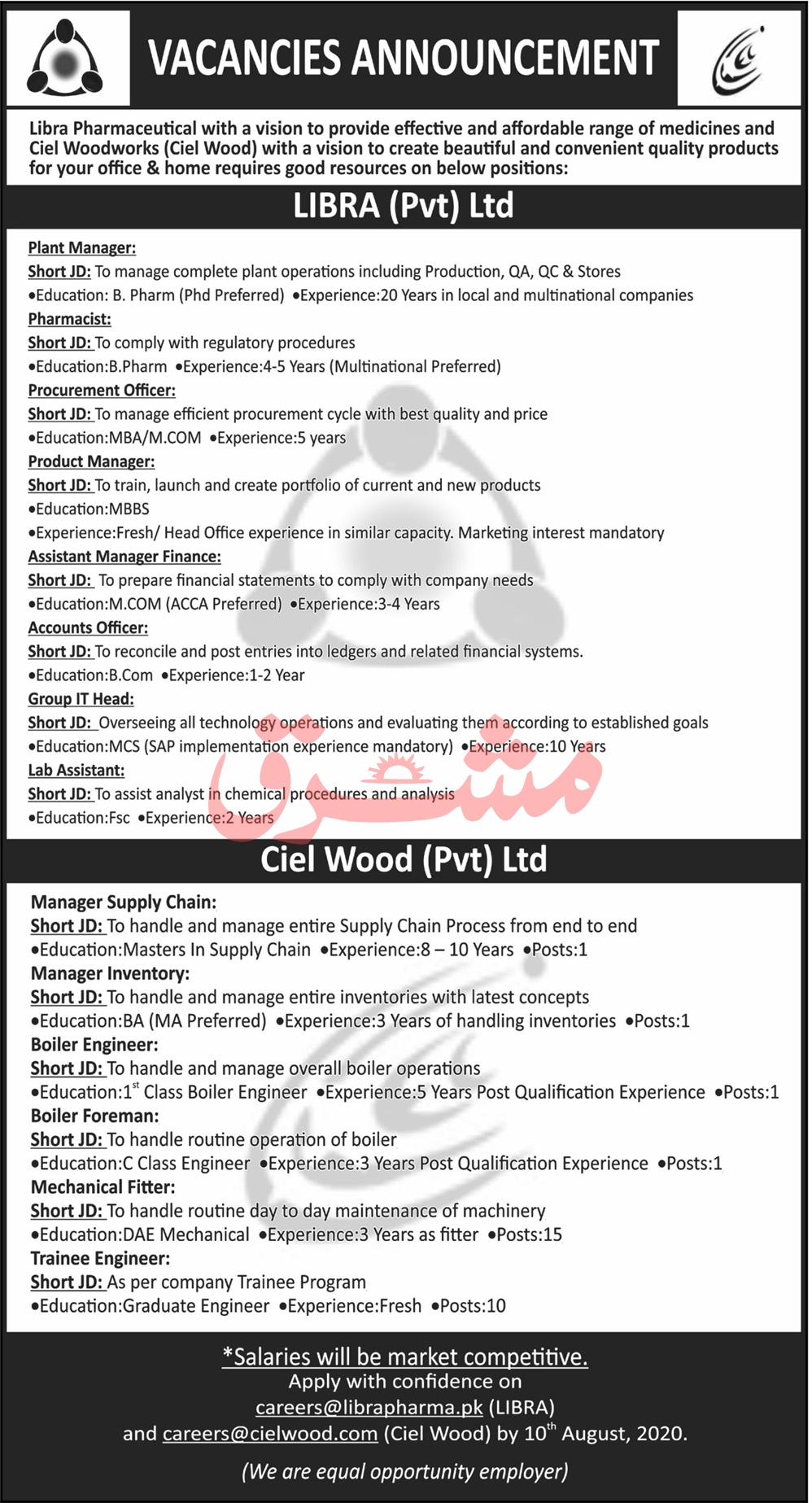 LIBRA Pvt Ltd Jobs July 2020