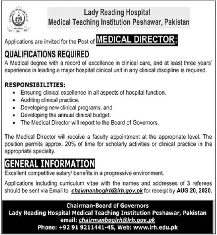 Lady Reading Hospital Medical Teaching Institution Jobs July 2020