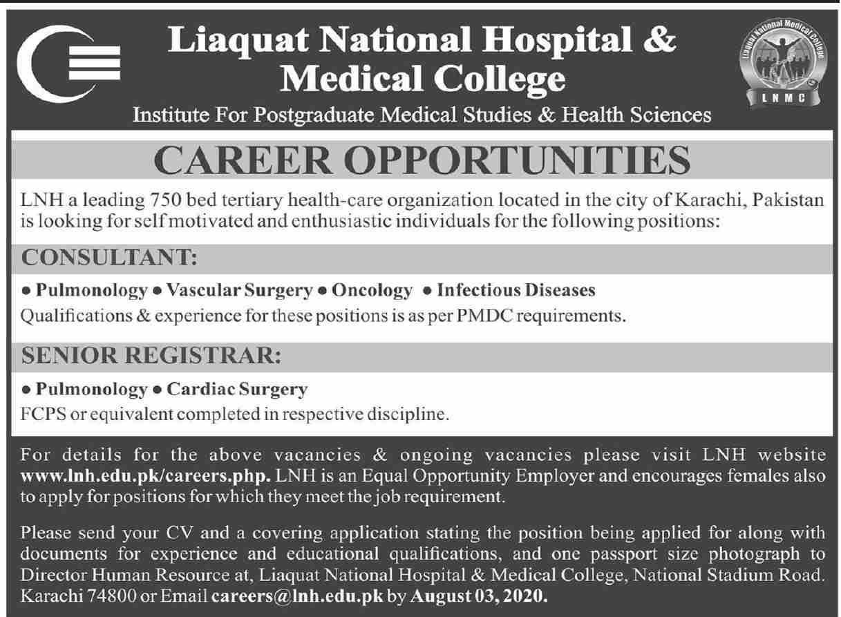 Liaquat National Hospital & Medical College Jobs July 2020