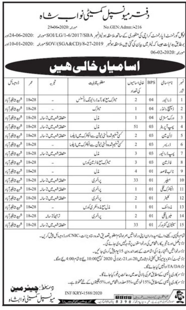 Government of Sindh Local Government Jobs June 2020
