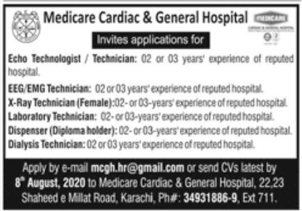 Medicare Cardiac & General Hospital Jobs July 2020