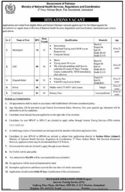 Ministry of National Health Services Jobs July 2020