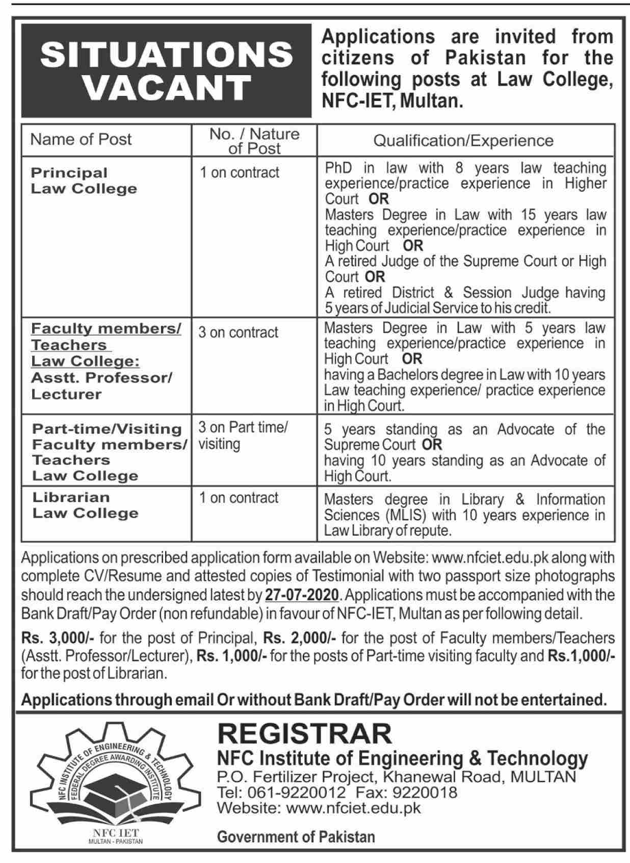 NFC Institute of Engineering & Technology Jobs June 2020