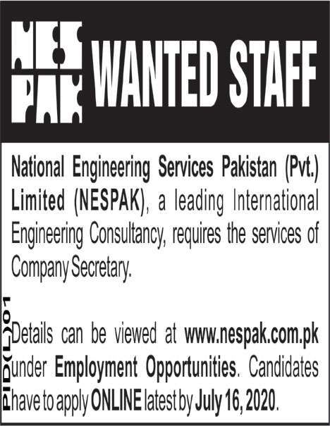 National Engineering Services Pakistan Pvt Limited Jobs June 2020