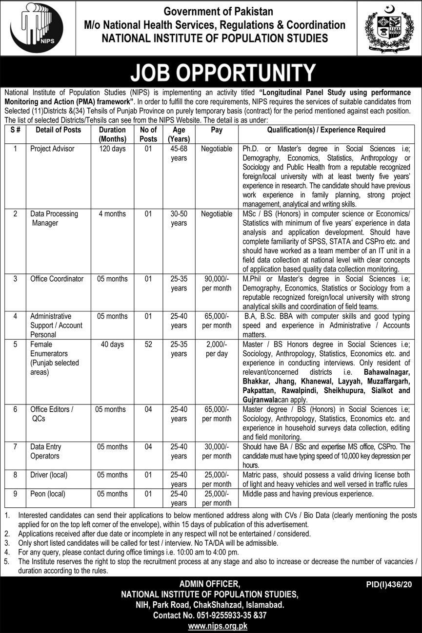 National Institute of Population Studies Government of Pakistan Jobs July 2020