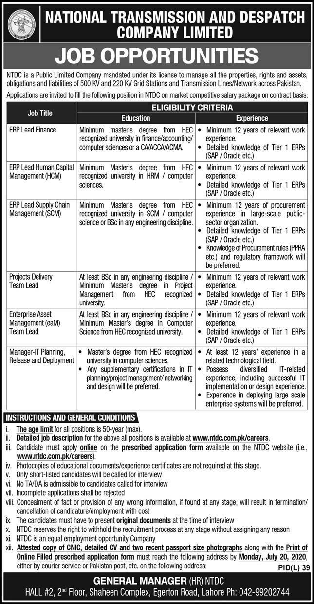 National Transmission and Despatch Company Limited NTDC Jobs July 2020