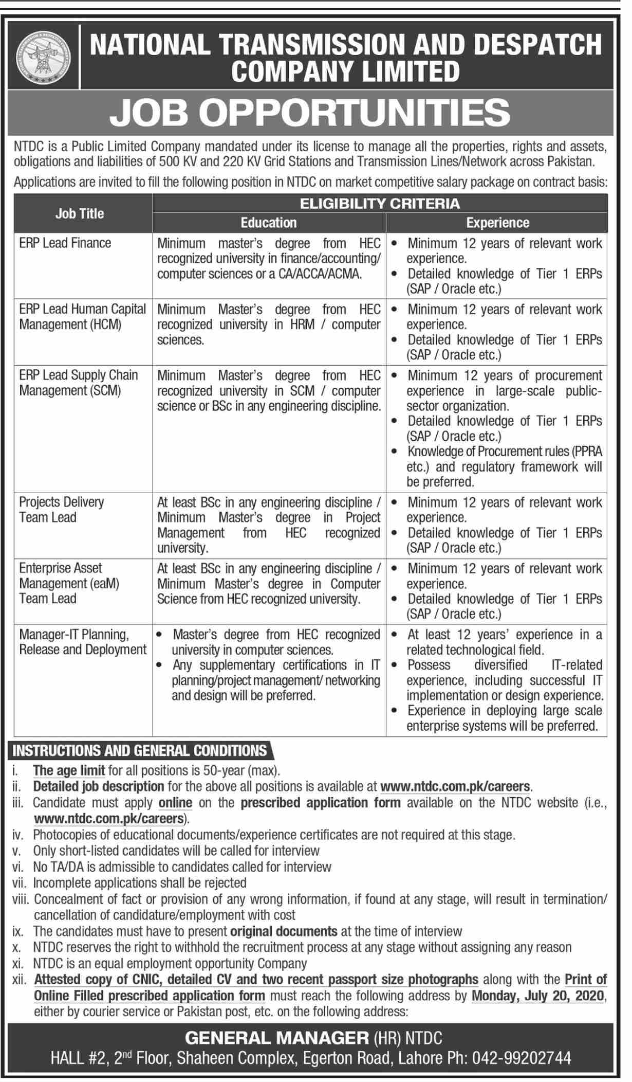 National Transmission and Despatch company Limited Jobs July 2020