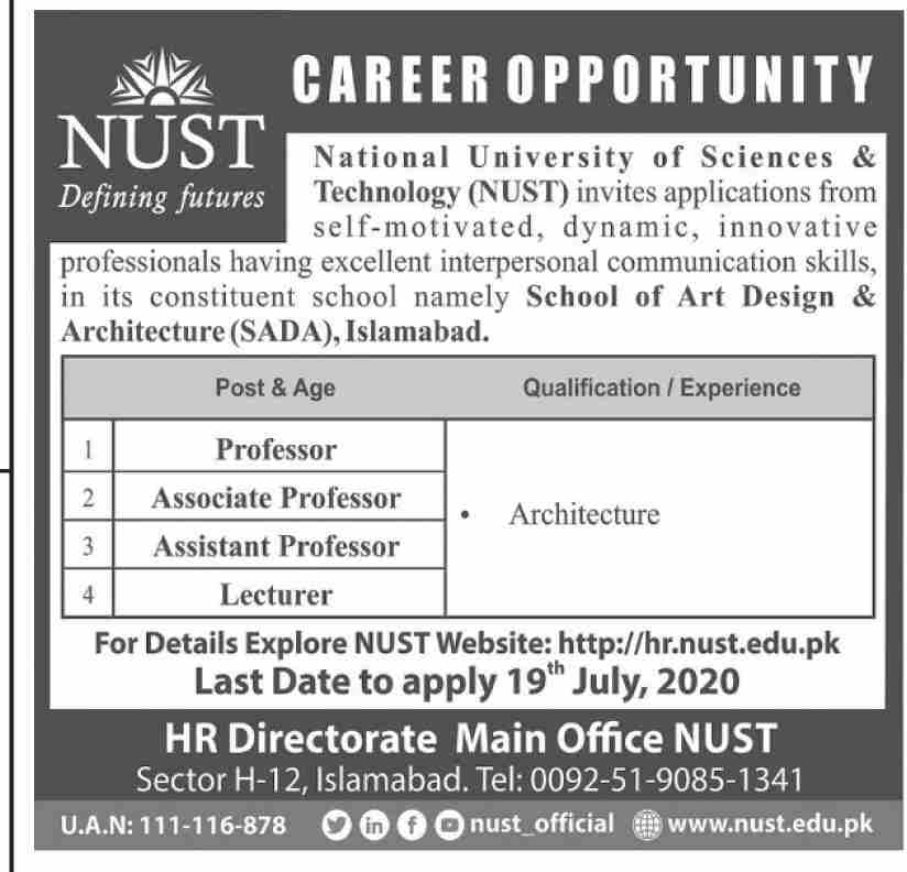 National University of Sciences & Technology NUST Islamabad Jobs June 2020