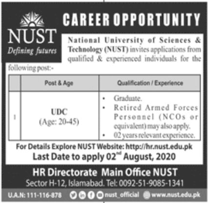National University of Sciences & Technology NUST Jobs July 2020
