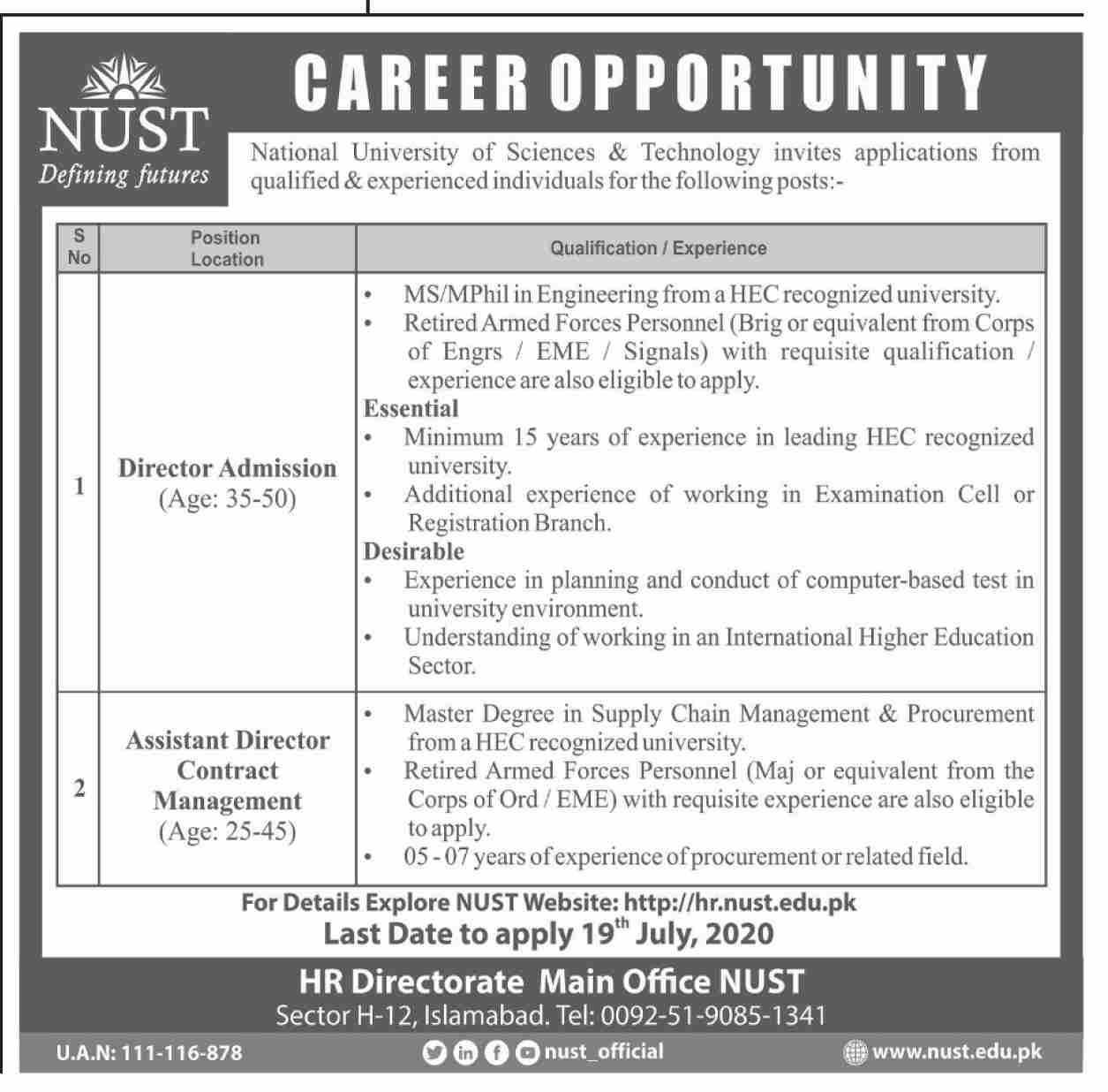 National University of Sciences & Technology NUST Jobs June 2020
