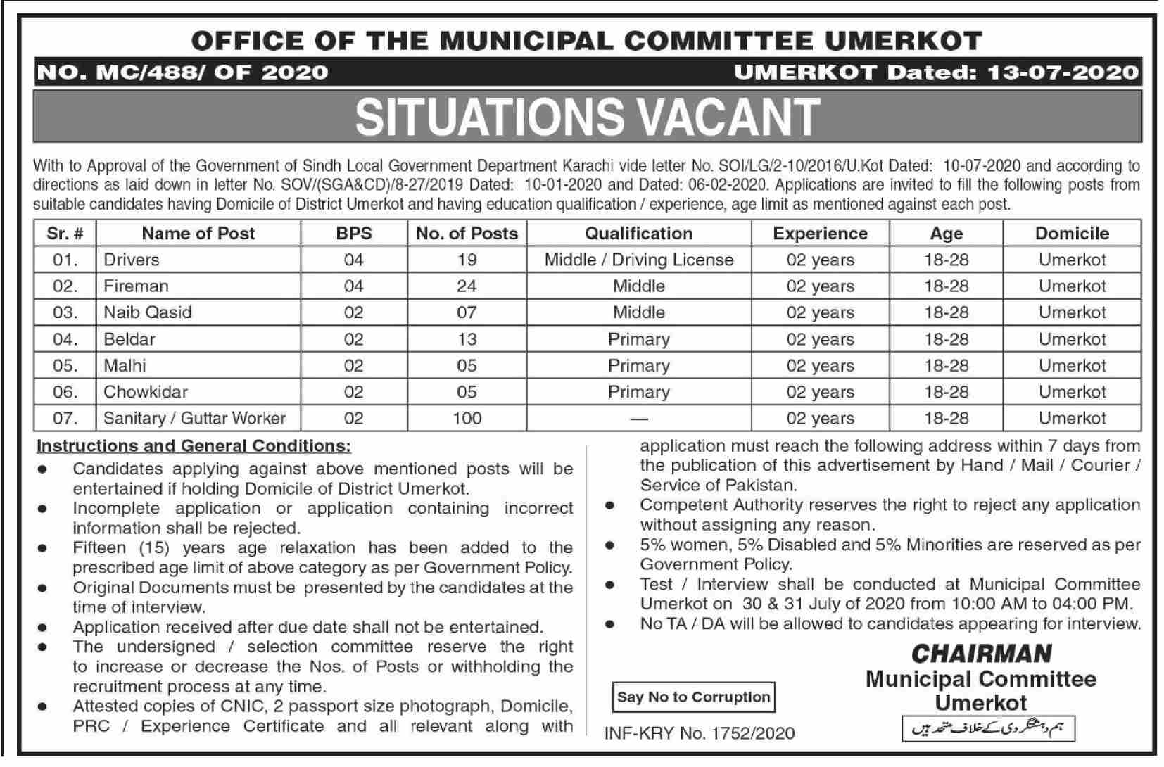 Office of the Municipal Committee Umerkot Jobs June 2020