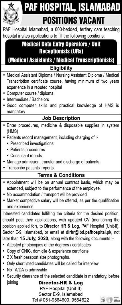 PAF Hospital Islamabad Jobs June 2020