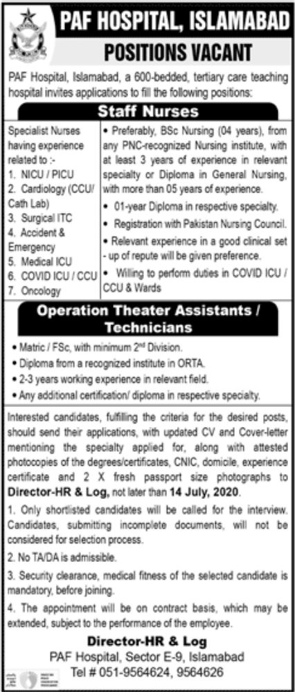 PAF Hospital Jobs July 2020