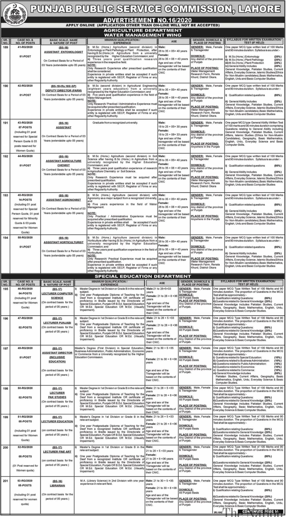 PPSC Jobs June 2020 Page - 1