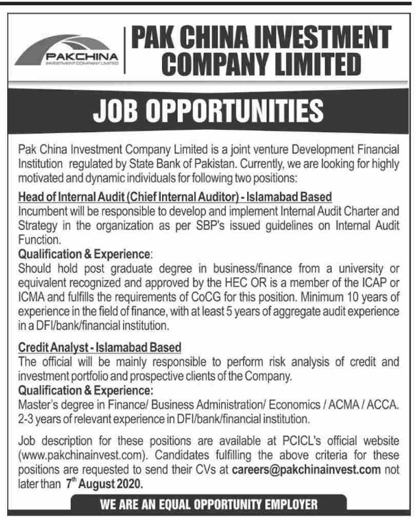 Pak China Investment Company Limited Jobs July 2020
