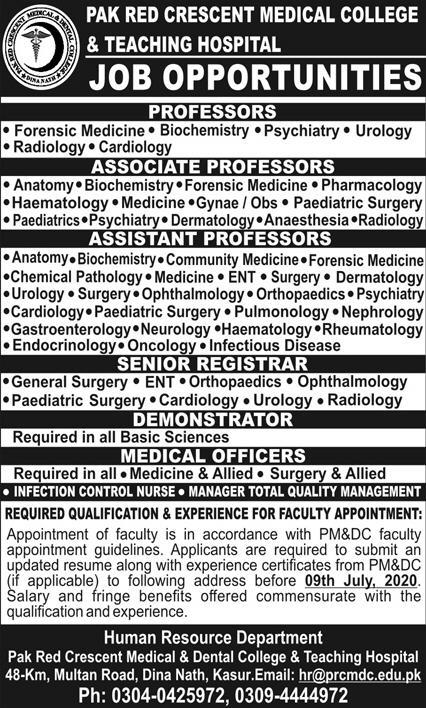 Pak Red Crescent Medical College & Teaching Hospital Jobs July 2020
